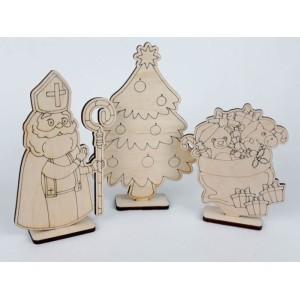 Деревяні новорічні іграшки в асортименті 3 фігурки в наборі