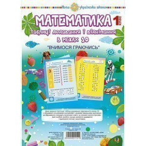 Математика 1 клас Таблиці додавання і віднімання в межах 10 (зошит з плакатом) НУШ Будна Тетяна Богданівна