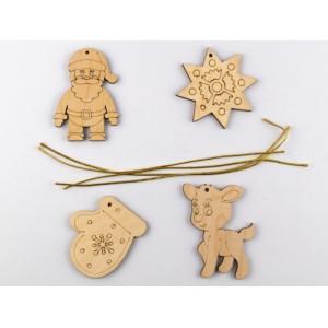 Деревяні новорічні іграшки Набір 1 (4 фігурки)
